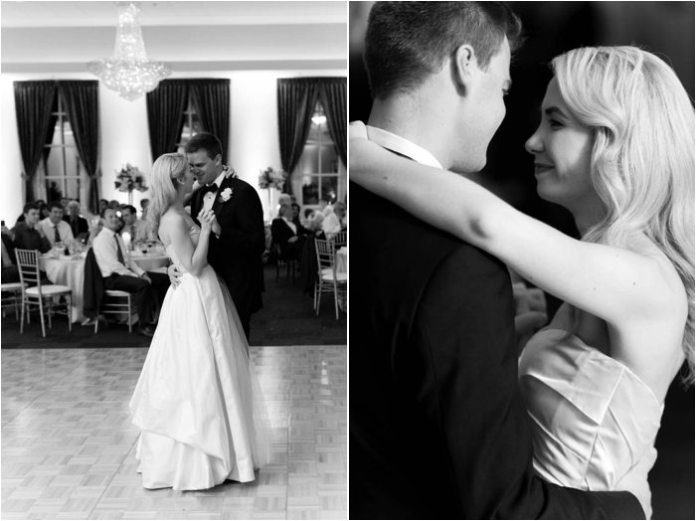 bride and groom first dance mansion