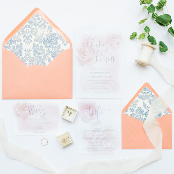 coral and blue invitation suite