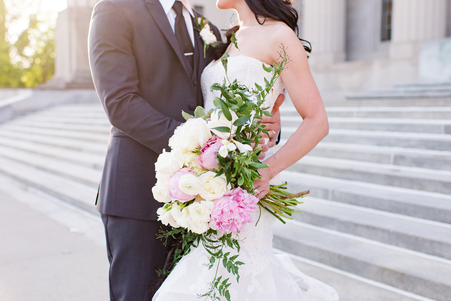 Lilac Themed Wedding At The Central Library in Indianapolis
