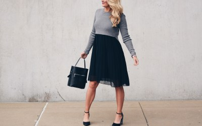 PLEATED CHIFFON SWEATER DRESS