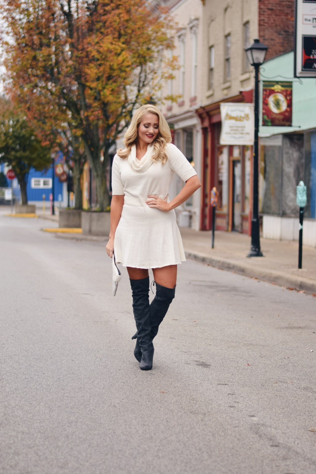 white fit and flare sweater dress and grey over the knee boots