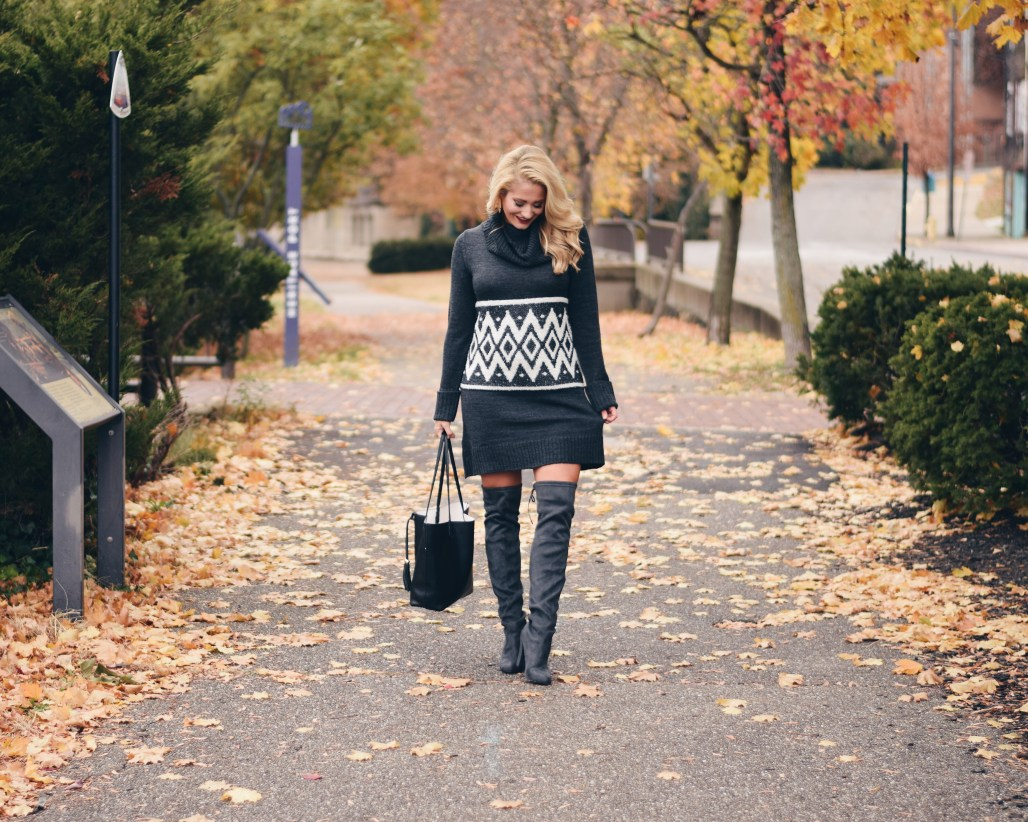 grey sweater dress and over the knee boots