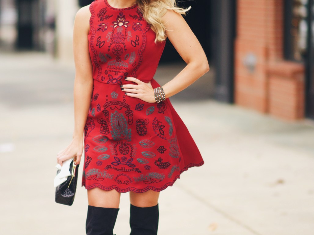 Red Embroidered holiday dress with sequin clutch