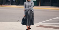 silver pleated skirt oversized grey sweater