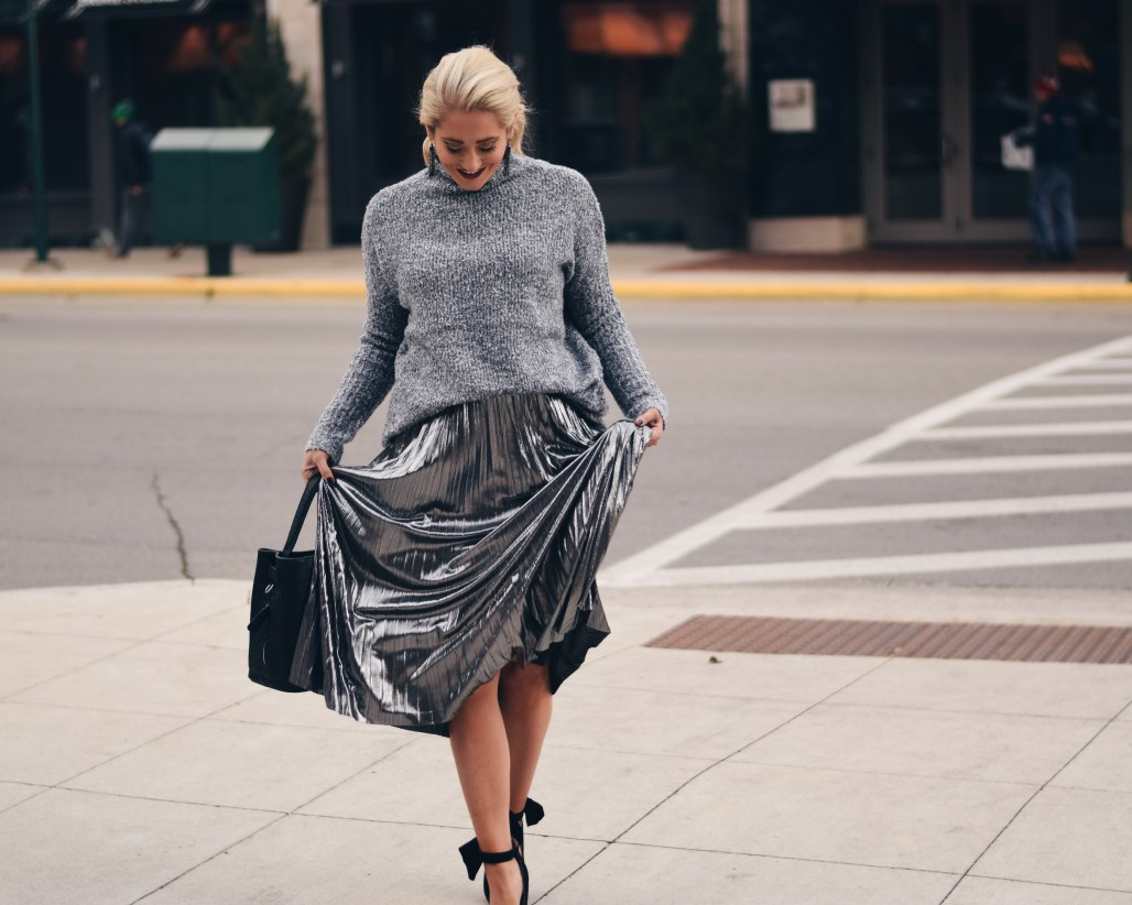 silver metallic pleated midi skirt with sweater