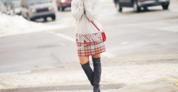 plaid j crew skirt with grey tassel sweater and over the knee boots