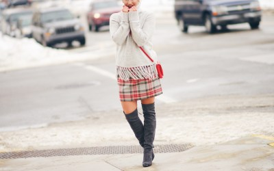 WINTER PLAID + GREY TASSELED SWEATER