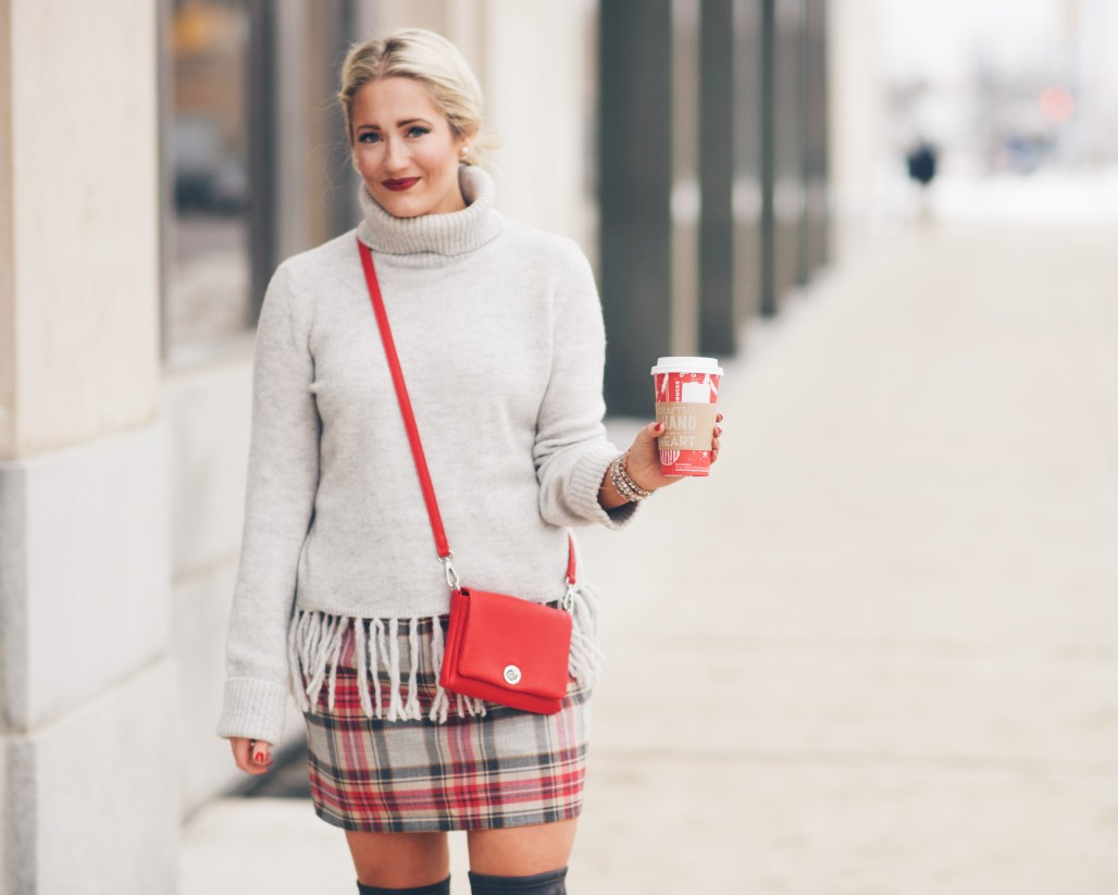 plaid j crew skirt with grey turtleneck tassel sweater
