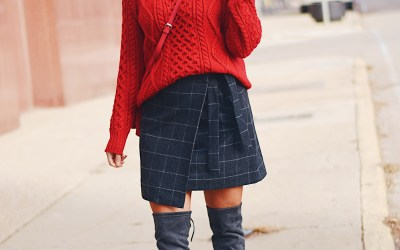 WOOL WRAP SKIRT + RED SWEATER