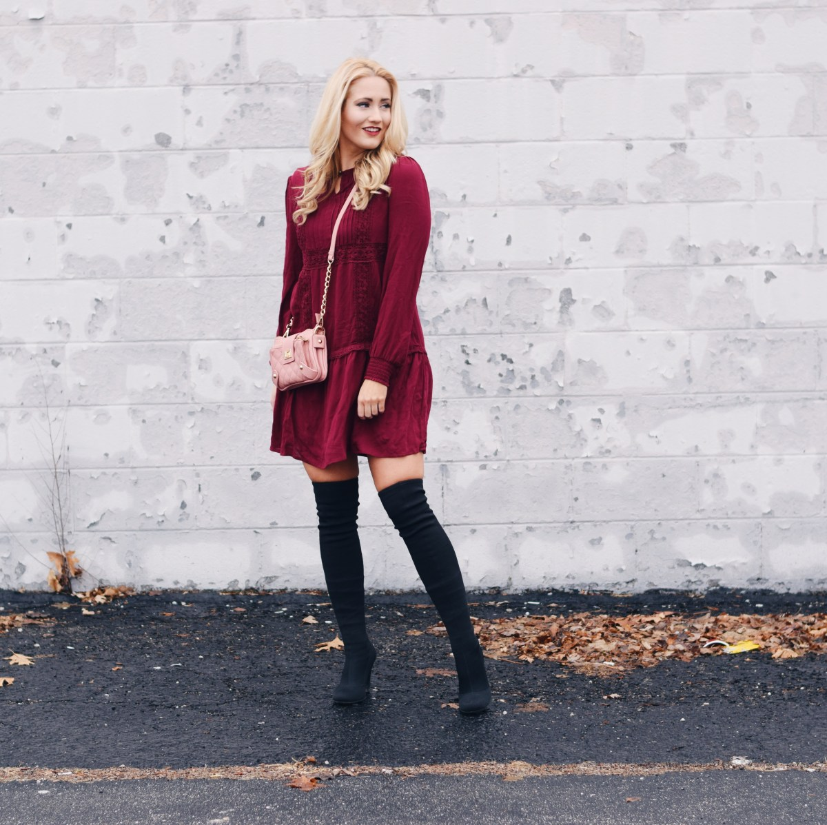 TIERED SHIFT DRESS + BOOTS