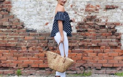 WHITE + NAVY STRIPES
