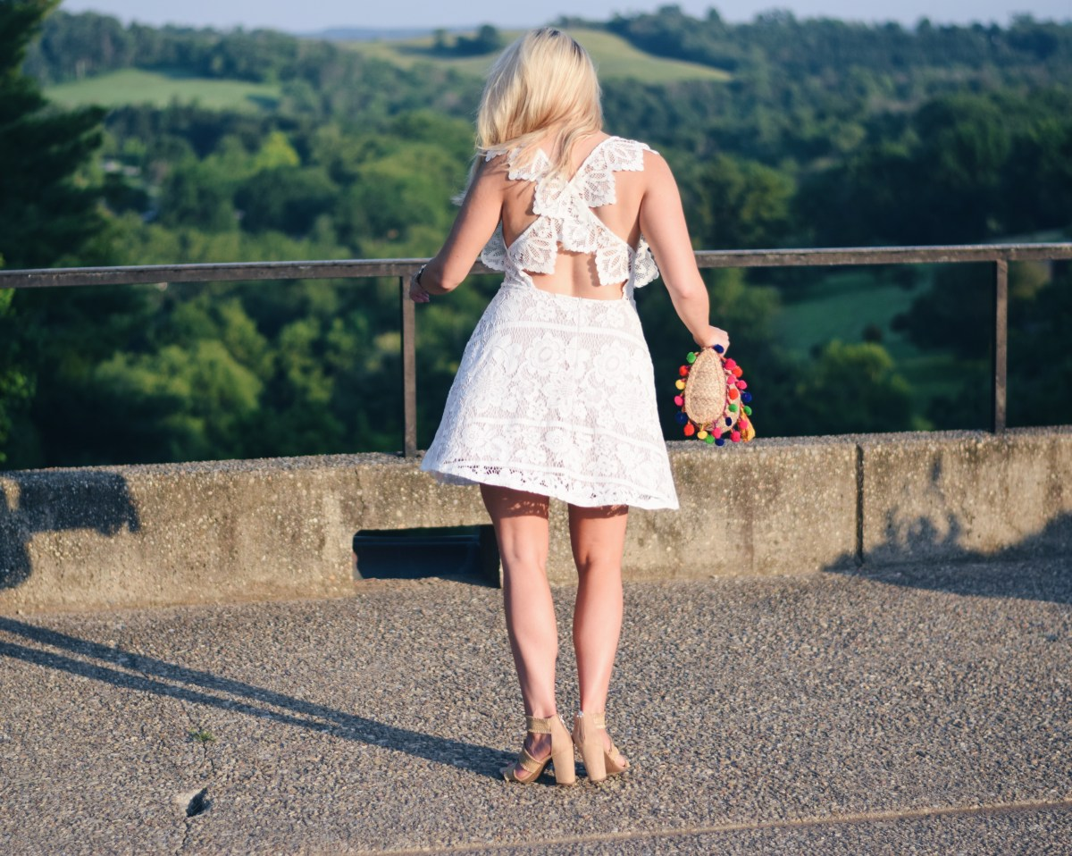 WHITE LACE CROSS BACK DRESS