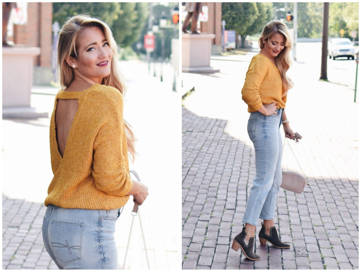 YELLOW LOW BACK SWEATER
