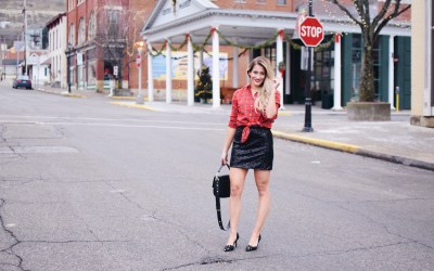 BLACK SEQUINS AND RED FLANNEL