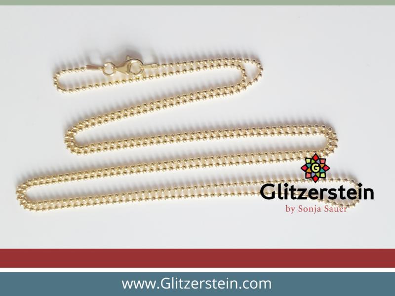 Kugelkette lang 925 Silber vergoldet