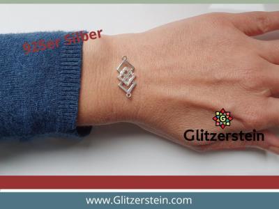 Schmuckverbinder Quadrate 925 Silber mit Zirkonia
