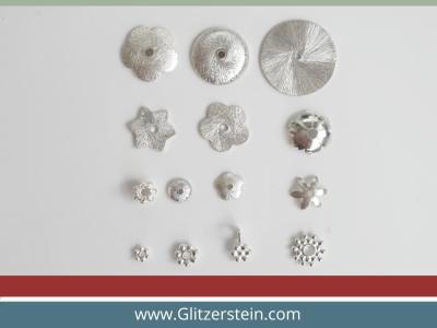 Gewölbte Blume 12 mm in 925er Silber (4x Pack)