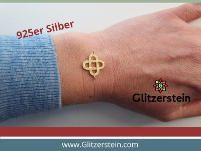 Schmuckverbinder Knoten 925 Silber vergoldet