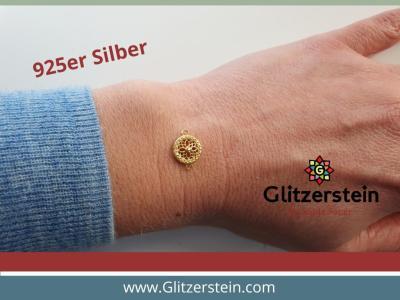 Schmuckverbinder Ornament 925 Silber vergoldet