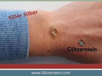 Schmuckverbinder Edelstein 925 Silber vergoldet (grüner Amethyst)