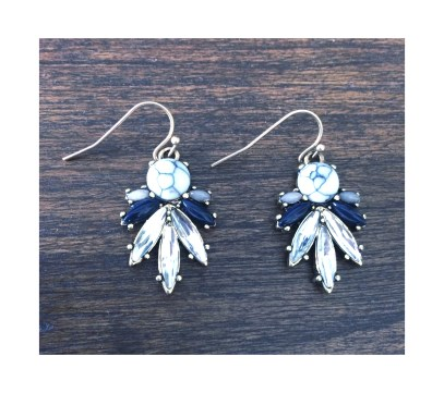 Vintage inspired marble lapis drop earring $10