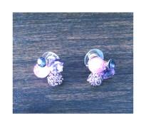 Purple jewel cluster earrings $10