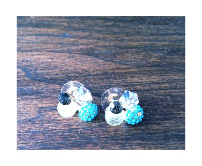 Turquoise jewel cluster earrings $10