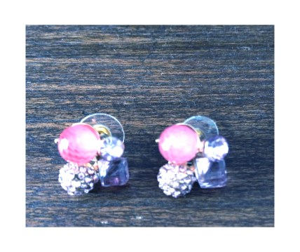 Pink jewel cluster earrings $10