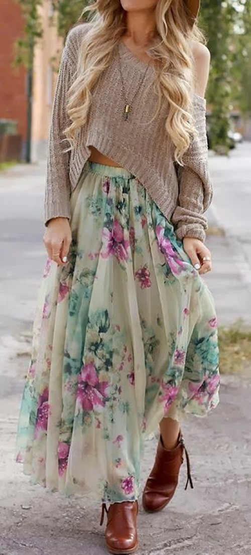 Green Floral Sashes high quality vestidos pleated Bohemian casual Maxi Skirt