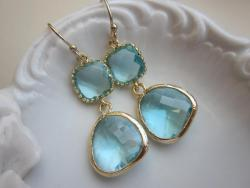 Aquamarine Earrings Gold Two Tier Blue Earrings – Bridesmaid Earrings
