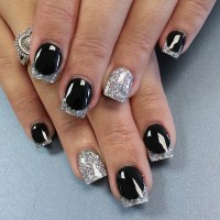 Black Nail Art Design with Glitter and Stones Ideas - Womenitems.Com