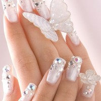 French Tip Nails with Diamonds in Curved and Striped Shape - Womenitems.Com