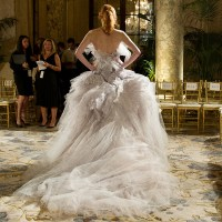 Marchesa S/S 2012 RTW, the finale dress as worn by Karen Elson on the trial run taken by Kevin Tachman for Vogue