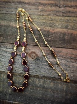 Maroon and Gold Necklace by AFJart on Etsy