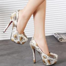 Sexy Snake Pattern High Heels Fashion Shoes