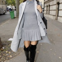 Zendaya, grey, pleats, school girl, pleated,