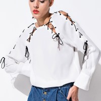 White with Lattice Accents Shirt - FrontRowShop