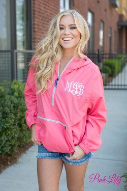 Monogrammed New Englander Pullover Coral  – The Pink Lily