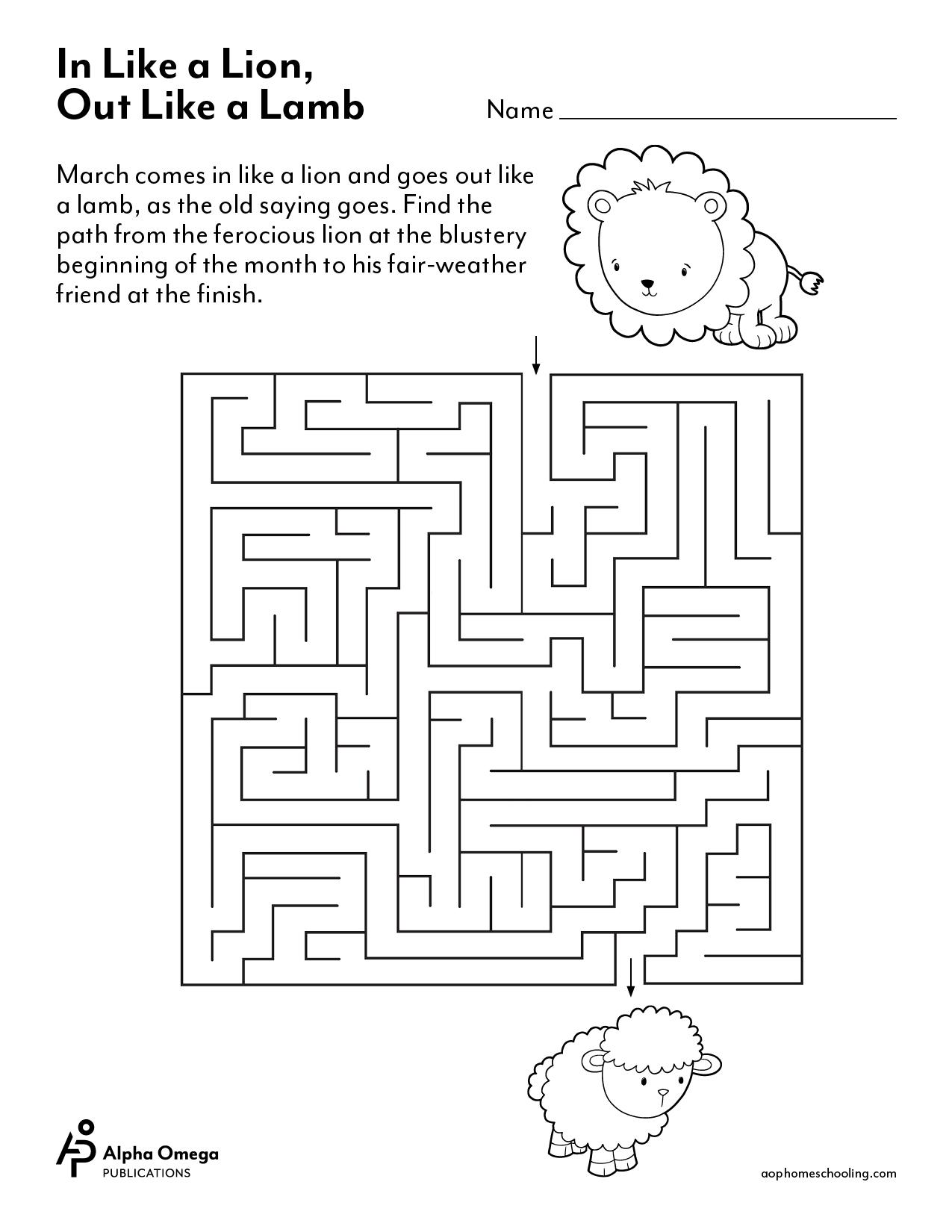 March Kindergarten Worksheet