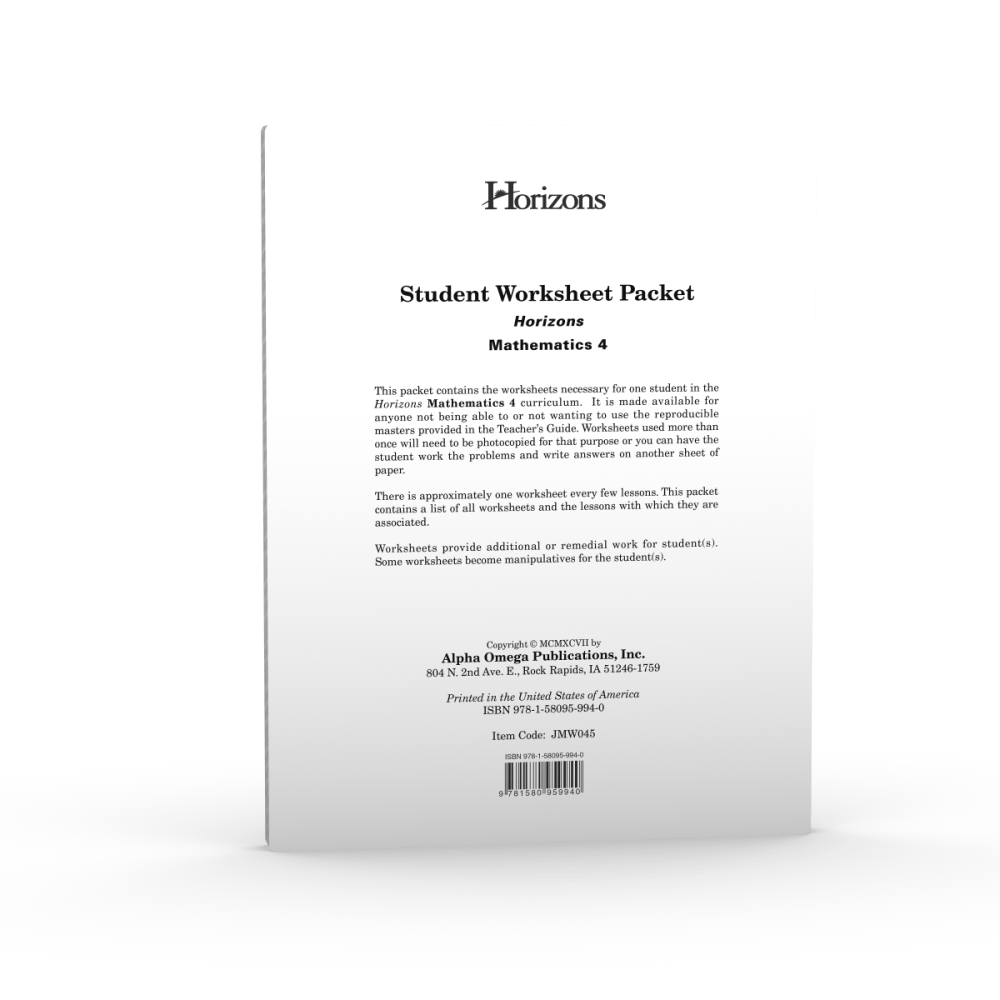 medium resolution of Horizons 4th Grade Math Student Worksheet Packet - AOP Homeschooling