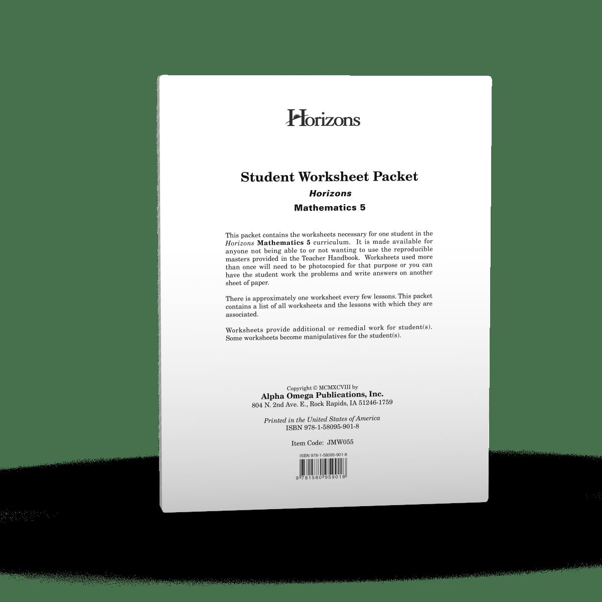 hight resolution of Horizons 5th Grade Math Student Worksheet Packet - AOP Homeschooling