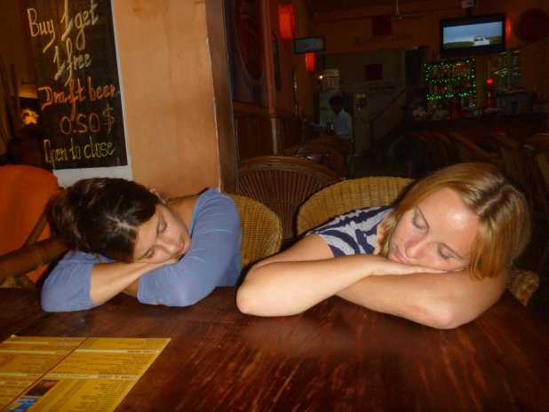 Falling asleep at dinner