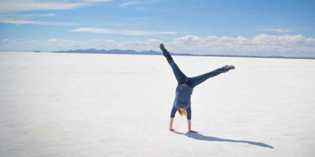 Doing cartwheels on the Salar de Uyuni, Bolivia