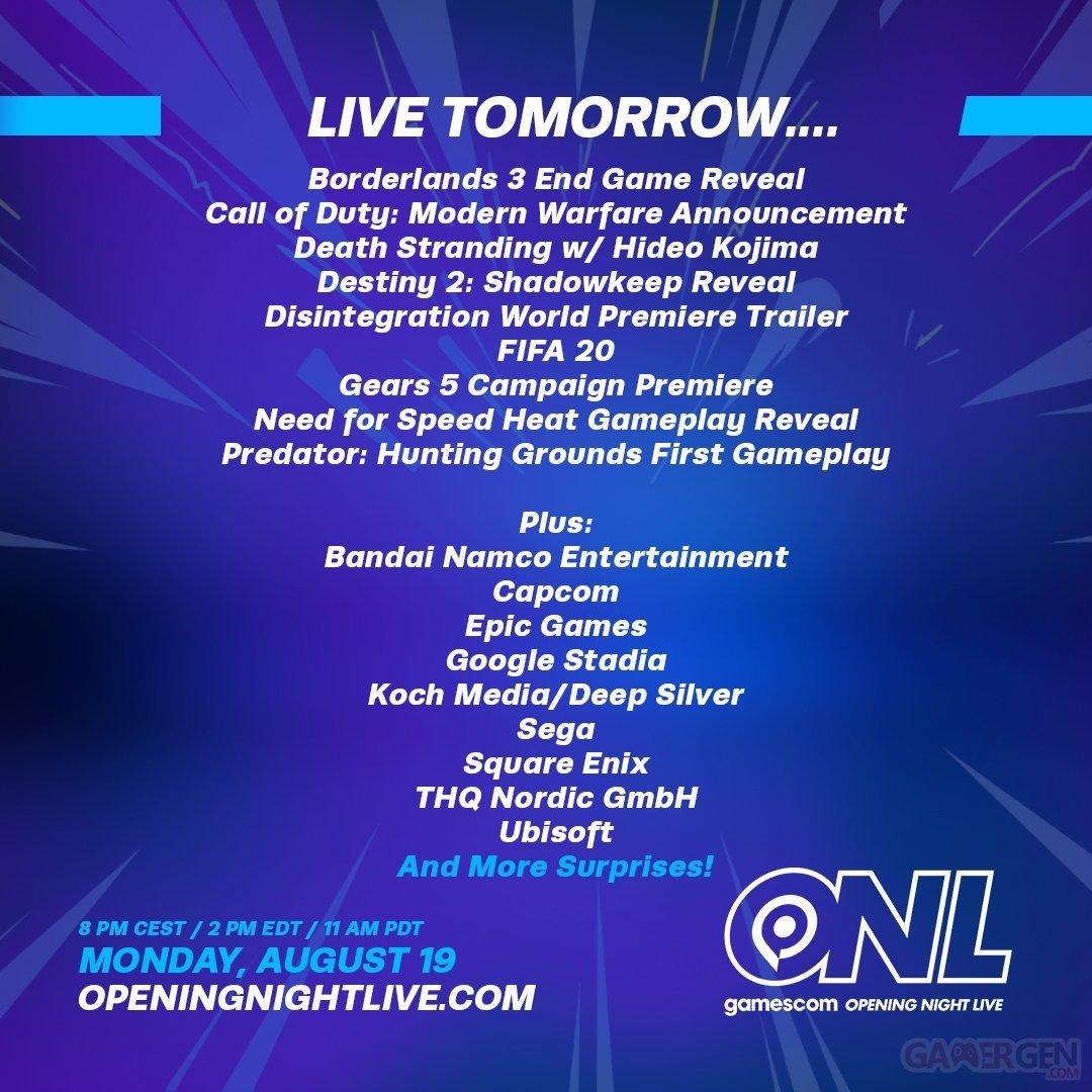 gamescom Opening Night Live : nouveau teaser, nombre de jeux ...