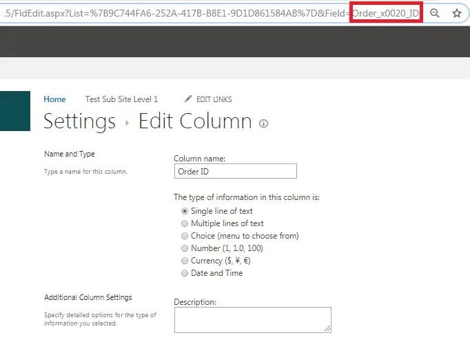 column static name