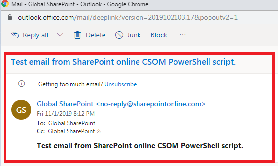 SendEmailFromSPCSOMPowerShell2