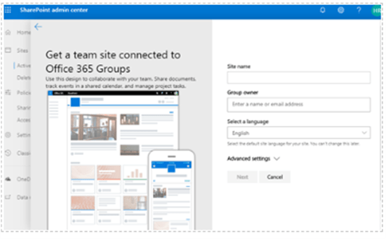 SharePoint admin center - create modern team site connected to office 365 groups