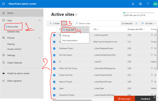 Bulk Edit in SharePoint admin center - SharePoint admin center - Office 365 - Microsoft 365 admin center