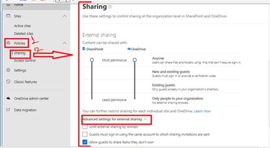 Sharing in SharePoint admin center - Office 365 - Microsoft 365 admin center