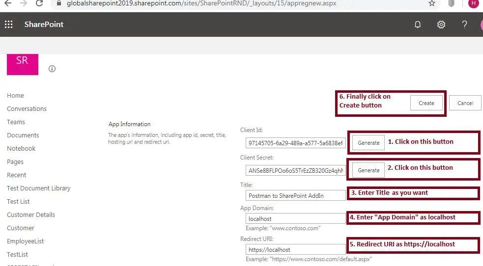 App information registration: Register Add-In - SharePoint online - Appregnew.aspx - App Information